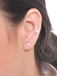 STERLING SILVER STAR EAR CRAWLER EARRINGS EAR CRAWLERS CLIMBER SWEEP UP HANDMADE #Handmade #Hoop