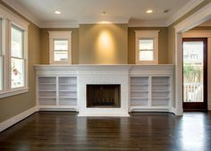 Tile Fireplace Surround Design Ideas, Pictures, Remodel, and Decor  Extend the fireplace w/ a book shelf