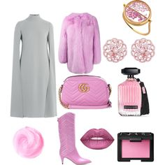 Oh Pinky Sunday Look by rea-godo on Polyvore featuring Valentino, Gucci, Aurélie Bidermann, NARS Cosmetics and Victoria's Secret