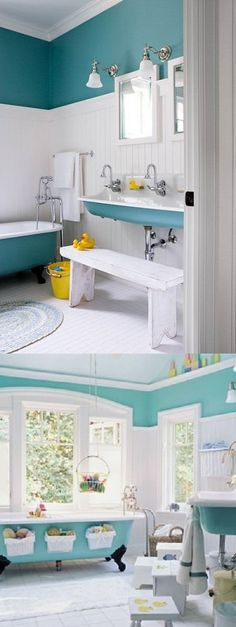 This is totally my dream bathroom, minus the kiddy stuff. Love the style and the color💙💙💙💙💙💙