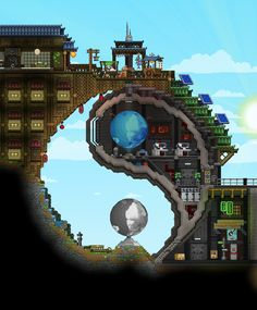 Starbound is a [space+sandbox+building+exploration] game developed by Chucklefish, a London-based independent game studio! Minecraft Banner Designs, Minecraft Banners, Minecraft Blueprints, Minecraft Creations, Terraria House Design, Terraria House Ideas, Minecraft Architecture, Minecraft Buildings, Cool Pixel Art