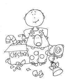 Free Dearie Dolls Digi Stamps: The Boy helps to decorate!