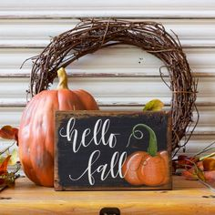 Fall Decor, Wooden Sign, Hello Fall Wood Sign, Pumpkin Wood Sign, Rustic Fall…