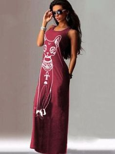 1f3d55f9769175 Cat Printed Straps Sleeveless Maxi Dress