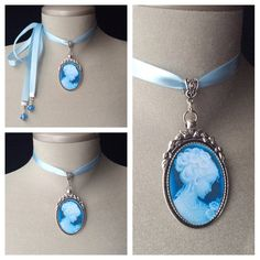 Feminine, baby blue, cameo choker necklace!  This vintage inspired, baby blue cameo is set in an antique silver pendant and attached to a baby blue, adjustable satin ribbon - tiny, blue crystal beads are added to the ends of the ribbon....  Can be tied at the side or back of neck...  The antique silver pendant itself measures 1 1/4 in length - the image is protected with a crystal, oval glass dome.....  The perfect birthday or Mothers Day gift for women, teens, tweens and girls!  Please ...