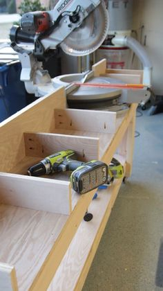 DIY Miter Saw Bench. Includes detailed instructions on how to build frames ... by Shanty 2 Chic (on the Home Depot site) ...