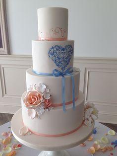 Handmade and decorated wedding cake