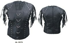 Ladies halter top with chains in the front studded and fringed 500 All new items this is under $50 www.SouthernLeathers.com