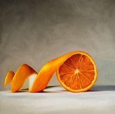 Lauren Pretorius - Original Art Fruit Food Oil Painting - Unwinding Orange #Realism