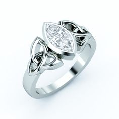Triquetra Celtic Solitaire Marquise Diamond Engagement Ring bezel set in White Gold
