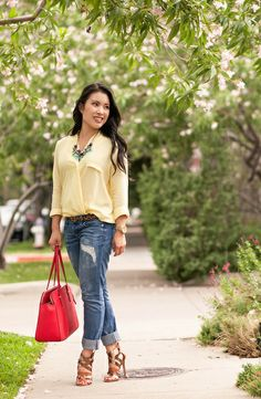 cute & little blog | petite fashion | yellow surplice top, distressed boyfriend jeans, kate spade red tote bag, strappy sandals, oasap statement necklace | summer outfit