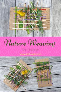 Natural weaving for children. Bring children outside, create and tinker . - Natural weaving for children. Bring kids outside, create and craft! Nature Activities, Outdoor Activities For Kids, Craft Activities, Kids Outdoor Crafts, Summer Activities, Family Activities, Diy Crafts For Kids, Projects For Kids, Art Projects