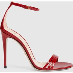Gucci Patent Leather Sandal (190.750 HUF) ❤ liked on Polyvore featuring shoes, sandals, heels, sapatos, red, red heel shoes, gucci sandals, red patent shoes, red patent leather sandals and gucci shoes