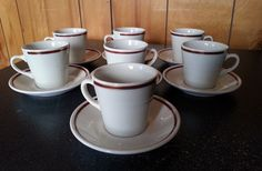 Set of 7 Homer Laughlin Red and Gold Striped by Midcenturyorbust