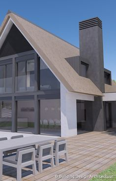 Building Design Architectuur Architecture Durable, Garden Architecture, Contemporary Architecture, Building Design, Building A House, Roof Design, House Design, Indoor Outdoor Fireplaces, Thatched House