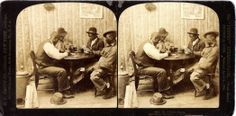 Amusing stereographic portrait of men cheating at playing cards.  Albumen print, c. 1900.