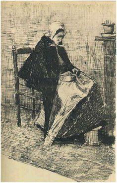 Letter Sketches,  The Hague: 21-Jan, 1882 Van Gogh Museum Amsterdam, The Netherlands, Europe F:1 Image Only - Van Gogh: Scheveningen Woman Sewing