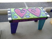 heart Bench black white checkerboard