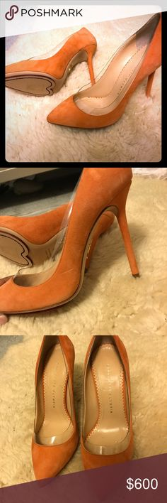 Brand new charlottes olympia, unworn, Beautiful orange pumps with clean design, and amazing cut of the bottom of the heel. Beyoncé  and jlo had shoes form this designer and many other celebrities Charlotte Olympia Shoes Heels