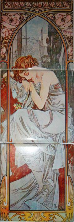 Ceramic Tile Mural Art Nouveau Ceramic Tile by Imagesdesign