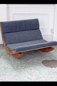 Harris Tweed & English Elm Rocker Sofa by Baines & Fricker