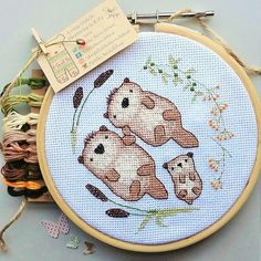 Otter embroidery / cross stitch kit featuring a cute otter couple and their lovely family surrounded by river reeds and leaves. These little otters would be perfect as an anniversary, birthday, new baby or baby shower gift and show someone you care with a handmade creation. *Size of