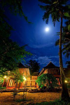 Moonlight over beach, Thailand.