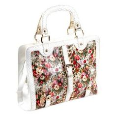 Nicole Lee Florence Floral Patent F3164 Briefcase,White,One Size: Sale: 	$60.76