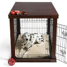 M Espresso Wood Pet Crate Modern Dog Cage End Table Stylish Animal Carrier Bed