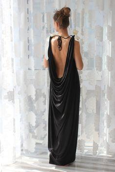 Schwarz lange Maxi Open zurück Kaftan/Greek Dress/Backless