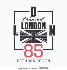 Vector illustration on the theme of London, England. The British flag. Number sport typography, t-shirt graphics, print, poster, banner, flyer, postcard