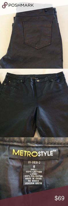 Genuine Leather Pants   Like New Condition Great quality at a great price. Lined leather pants in excellent condition. Would look fabulous at a holiday party. Metrostyle Pants Straight Leg