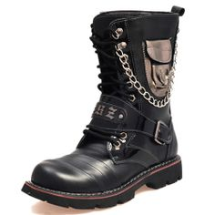 Black Leather Cyber Gothic Punk Fashion Strap Chain Battle Boots Men SKU-1280554
