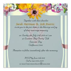 Floral canopy jewish wedding personalized invite