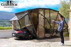 contemporary design idea for carport parking with folding doors and transparent panels