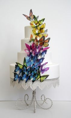 butterfly rainbow wedding cake. Butterflies on side of choc rainbow cake