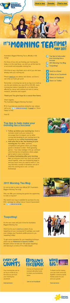 Email Campaign Design for Cancer Council's Biggest Morning Tea