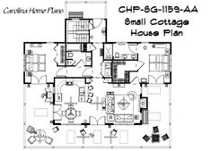 Open floor plan, cathedral ceiling great room and split bedroom layout define this 1-story small cottage style house plan from Carolina Home Plans