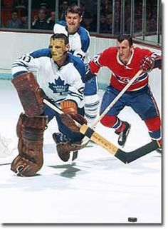 The Maple Leafs plucked Sawchuk from Detroit in the 1964 Intra-League Draft. Terry would spend three years in Toronto, contributing to their Stanley Cup championship in Claude Provost and Allan Stanley are chasing the puck as well. Hockey Shot, Ice Hockey Teams, Hockey Goalie, Hockey Players, Hockey Pictures, Sports Pictures, Montreal Canadiens, Nhl, Maple Leafs Hockey