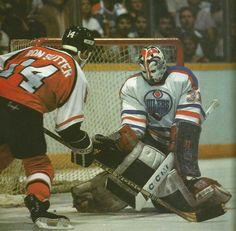 Grant Fuhr Don Sutter 1985 Hockey Goalie, Hockey Players, Nhl, Canadian Men, Goalie Mask, Masked Man, Edmonton Oilers, Philadelphia Flyers, Nfl Fans
