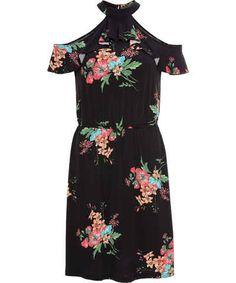 Cold-Shoulder-Kleid mit floralem Print - Another! Short Sleeve Dresses, Dresses With Sleeves, Flirt, Outfit, Bali, Cold Shoulder Dress, Cut Outs, Ankle Boots, Winter