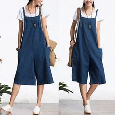 b743a89ba0c1 Oversized Women Loose Strap Jumpsuit Casual Dungaree Harem Trousers Overall  Pant Jeans Jumpsuit