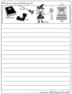 Halloween - Writing Fun ~ Write your own story using our writing prompts. We give you five words on our printout sheet and you create a story. First Grade - Second Grade - Third Grade. Get your pens ready & let the fun begin! www.crekid.com
