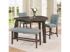 hollis 3 piece counter height dining set with triangle table by crown mark