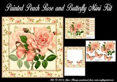 Painted Peach Roses and Butterfly Mini Kit on Craftsuprint designed by June Harrop - These flower and butterfly mini kits are quick and easy to make and can be used for various occasions. - Now available for download!