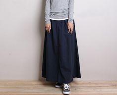 Cotton & Linen navy long skirt /Maxi skirt by kunniestore on Etsy