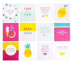QUOTE CARDS SET OF 12: CUTE