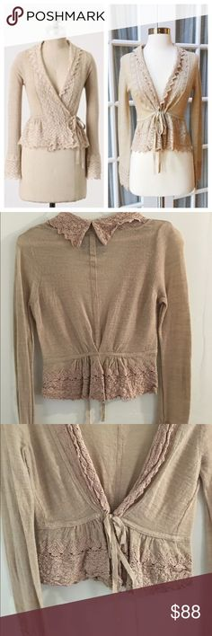 Anthropologie Guinevere Crochet Lace Cardigan The most gorgeous cardigan from Anthropologie. Super rare! Worn twice. Lovely lace all around. Hits right at the hips, or slightly above. Can be tied, or left open. Anthropologie Sweaters Cardigans