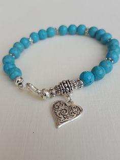 Boho style Turquoise gemstone bracelet with Tibetan silver heart charm Gemstone Bracelets, Sterling Silver Bracelets, Gemstone Jewelry, Beaded Jewelry, Silver Jewelry, Handmade Jewelry Bracelets, Handmade Jewellery, Heart Bracelet, Ankle Bracelets