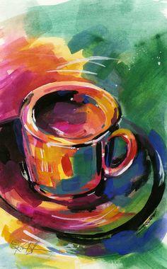 Coffee Dreams  .... Original Coffee Cup painting by Kathy Morton Stanion  KathyMortonStanion.etsy.com